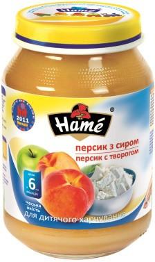 Пюре Hame яблоко и персик с творогом, 190 г