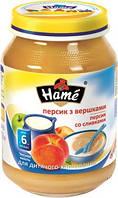 Пюре Hame яблоко и персик со сливками, 190 г