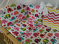 Детская постель в кроватку с слониками, зигзагами - 7 ед.