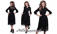 Нарядное черное платье за колени креп-костюмка + кружево Размеры:42, 44, 46, 48
