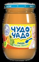 Пюре Чудо-чадо Яблоко и персик с сахаром, 170 г