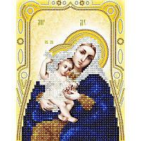Схема на ткани для вышивания бисером Икона Божией Матери Покрывающая (золото)
