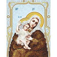 Схема на ткани для вышивания бисером Икона Божией Матери Покрывающая (серебро)