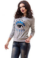Молодежная женская кофта свободного фасона с модным принтом рукав длинный трикотаж на флисе