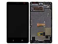 Дисплей (LCD) Nokia X2 Dual Sim с сенсором черный + рамка