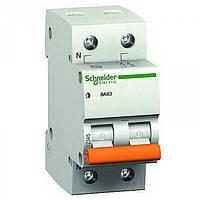 """Автоматический выключатель 25A фаза+нейтраль тип С """"Домовой"""" 11215S Schneider Electric"""