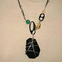 Кулон черный камень серебро