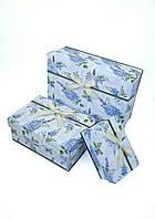 Прямоугольный подарочный комплект коробок ручной работы с синей гортензией