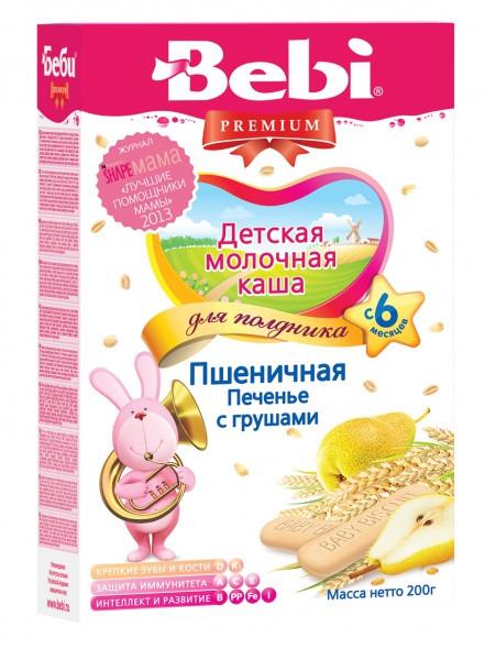 Молочная каша для полдника Bebi пшеничная Печенье с грушами, 200 г