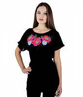 Вышитая женская шифоновая блуза с поясом