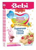 Молочная каша для полдника Bebi Premium пшеничная Печенье с малиной и вишней, 200 г