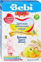 Молочная каша Bebi Premium гречневая с курагой и яблоком, 200 г
