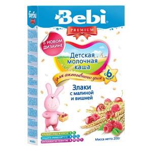 Молочная каша Bebi Premium злаки с малиной и вишней, 200 г