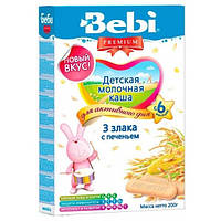 Молочная каша Bebi Premium 3 злака с печеньем, 200 г