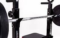 Скамья для жима универсальная с партой Скотта, тренажером для ног и штангой 72 кг., фото 1