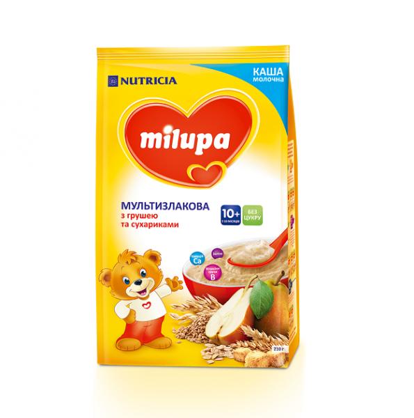 Молочная каша Milupa мультизлаковая с сухариками и грушей, 210 г