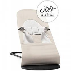 Кресло-шезлонг BabyBjorn Balance Soft cotton/jersey, бежевый с серым (5083)