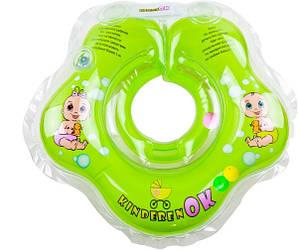 Круг для купания KinderenOK Baby с погремушкой, зеленый