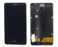 Дисплей (LCD) Nokia X Dual Sim с сенсором черный + рамка