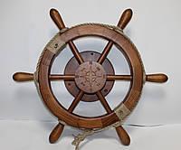 Деревянный Штурвал с поворотным механизмом с якорями. Подарок в морском стиле