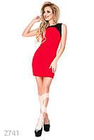 Коктейльное красное платье с черной отделкой