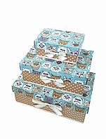 Прямоугольный подарочный комплект коробок ручной работы бирюзового цвета с реалистичными котами