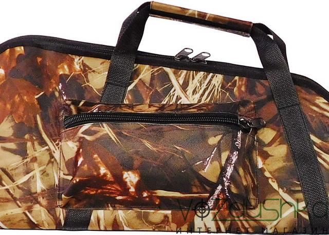 объемный карман и крепкие удобные ручки чехла для ружья с оптикой (камуфляж камыш)