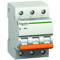 """Автоматический выключатель 63A 3-фазный тип С """"Домовой"""" 11229S Schneider Electric"""