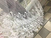 Тюль фатин,белая вышивка розы