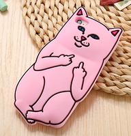 Дерзкий розовый чехол для Кот с факом iPhone 6PLUS 6S PLUS, фото 1