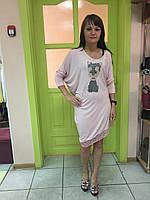 Женская туника розовая с принтом из мелких камней и кружевом Rinascimento