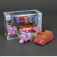 Игровой набор Пеппа LQ 920 A, машинка + мотороллер с фигурками, в коробке
