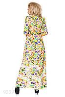 Желтое легкое платье в пол с цветочным принтом и длинными рукавами