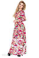 Малиновое легкое платье в пол с цветочным принтом и длинными рукавами