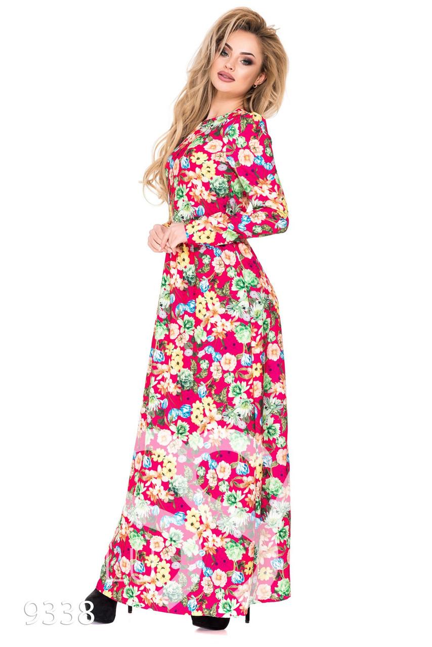 Малиновое легкое платье в пол с цветочным принтом и длинными рукавами -  Стильная женская одежда оптом 4aa2968815161
