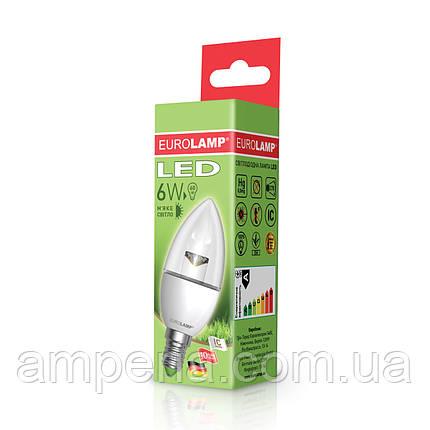 EUROLAMP LED Лампа ЕКО Свеча 6W E14 3000K(прозрачная) (LED-CL-06143(D)clear), фото 2