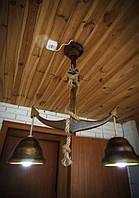 Деревянная люстра Якорь с колоколами. Ручная работа