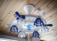 Деревянная люстра Штурвал с парусником на 6 лампочек. Ручная работа