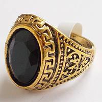 Мужской перстень (античная бронза) с черным камнем. Размеры 19, 20.