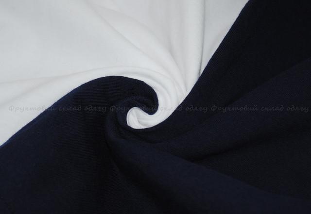 Мужская футболка с цветными рукавами Белый/Глубокий тёмно-синий