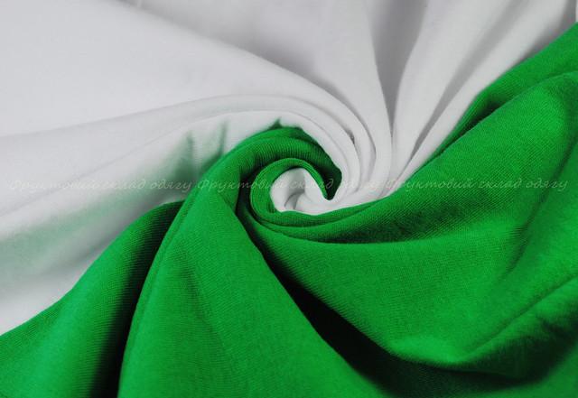 Мужская футболка с цветными рукавами Белый/Ярко-зелёный
