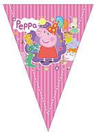 """Флажки вымпелы """"Свинка Пеппа"""". Длина 2,5 метра"""