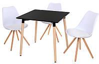 Стол обеденный в современном стиле TM-30, черный, МДФ-матовый, деревянные ножки(бук) 80х80