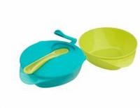 Компактный набор из двух тарелочек, с крышкой и ложкой Tommee Tippee, голубой с салатовым
