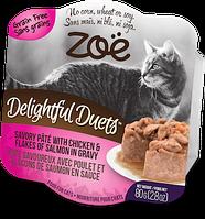 Консервы ZOE Delightful Duets для кошек из паштета курицы и хлопьев лосося в соусе, 80 г
