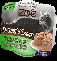 Консервы ZOE Delightful Duets для кошек из паштета лосося и хлопьев тунца в соусе, 80 г