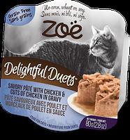Консервы ZOE Delightful Duets для кошек из куриного паштета и куриных хлопьев в соусе, 80 г