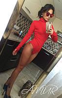 Женское красное  трикотажное боди с длинными рукавами. Арт-9995/82