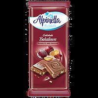 Молочный шоколад Alpinella арахис с изюмом 90г Польша