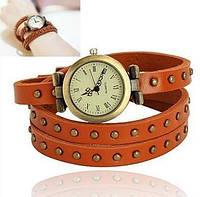 Женские винтажные часы с коричневым ремешком